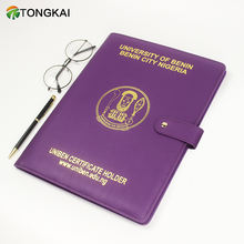 Manufacturer Direct PU PVC Folder Customized A4 Leather Certificate Holder