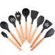 9 pcs food grade black silicone wood handle kitchen accessories cooking baking slotted spatula utensils tools set