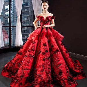 Mới nhất Thiết Kế Red Tulle New Hoa Sequined Sexy Vintage Wedding Dress Bridal Gown
