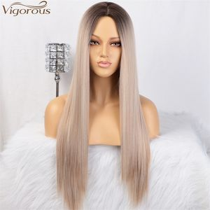 Vigorous Long Straight Blonde Ombre Wigs for Women Dark Roots Middle Part Synthetic Full Wig Heat Resistant Cosplay Wigs