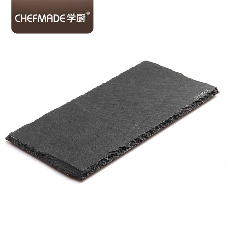 CHEFMADE D'ardoise Noir Naturel Pierre Plats Fromage Solide Sushi Steak Barbecue Rectangulaire Basalte Plaque