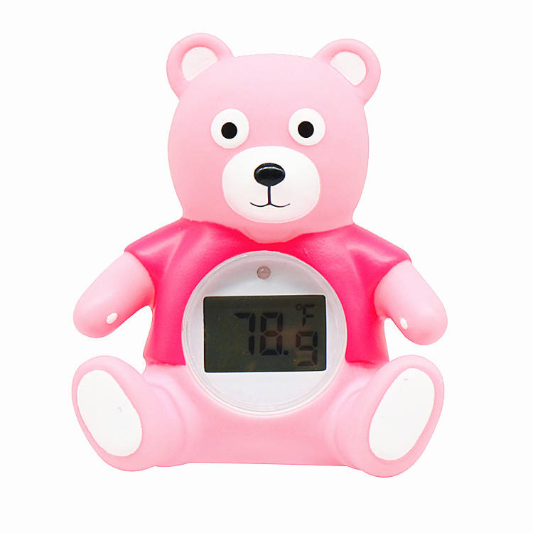 Baby Infant Bath Tub Shower Thermometer Water Temperature Tester Bear Shaped Thermometer Bath Toy Safety Bath Thermometer Pink