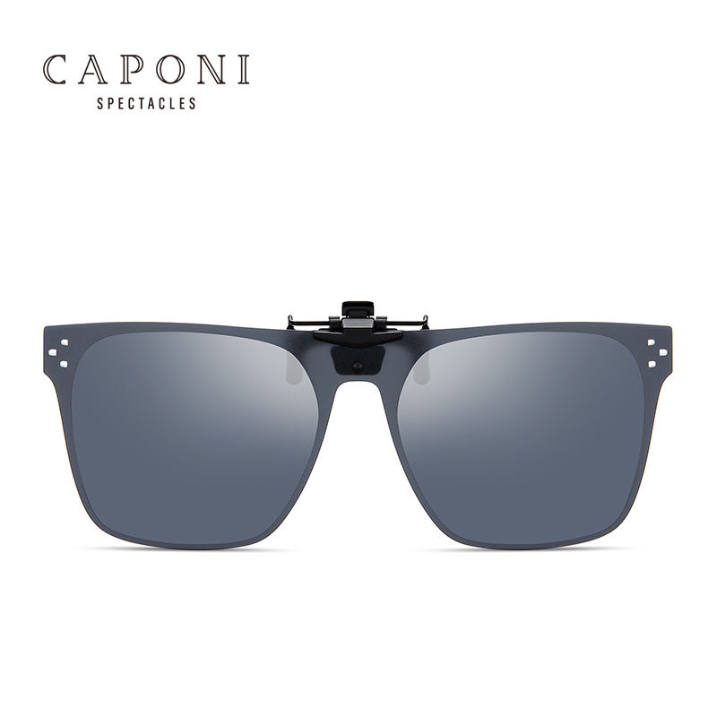 CAPONI Square Polarized Sunglasses Clip on Glasses For Fishing Driving Traveling Myopia Frame Easy Flip Up Lens UV400
