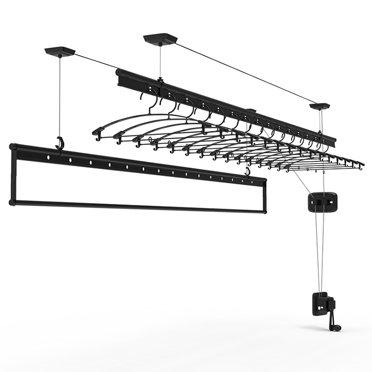 High Quality Three Pole Hand Operated Lift Balcony Ceiling Clothes Drying Rack Hanger