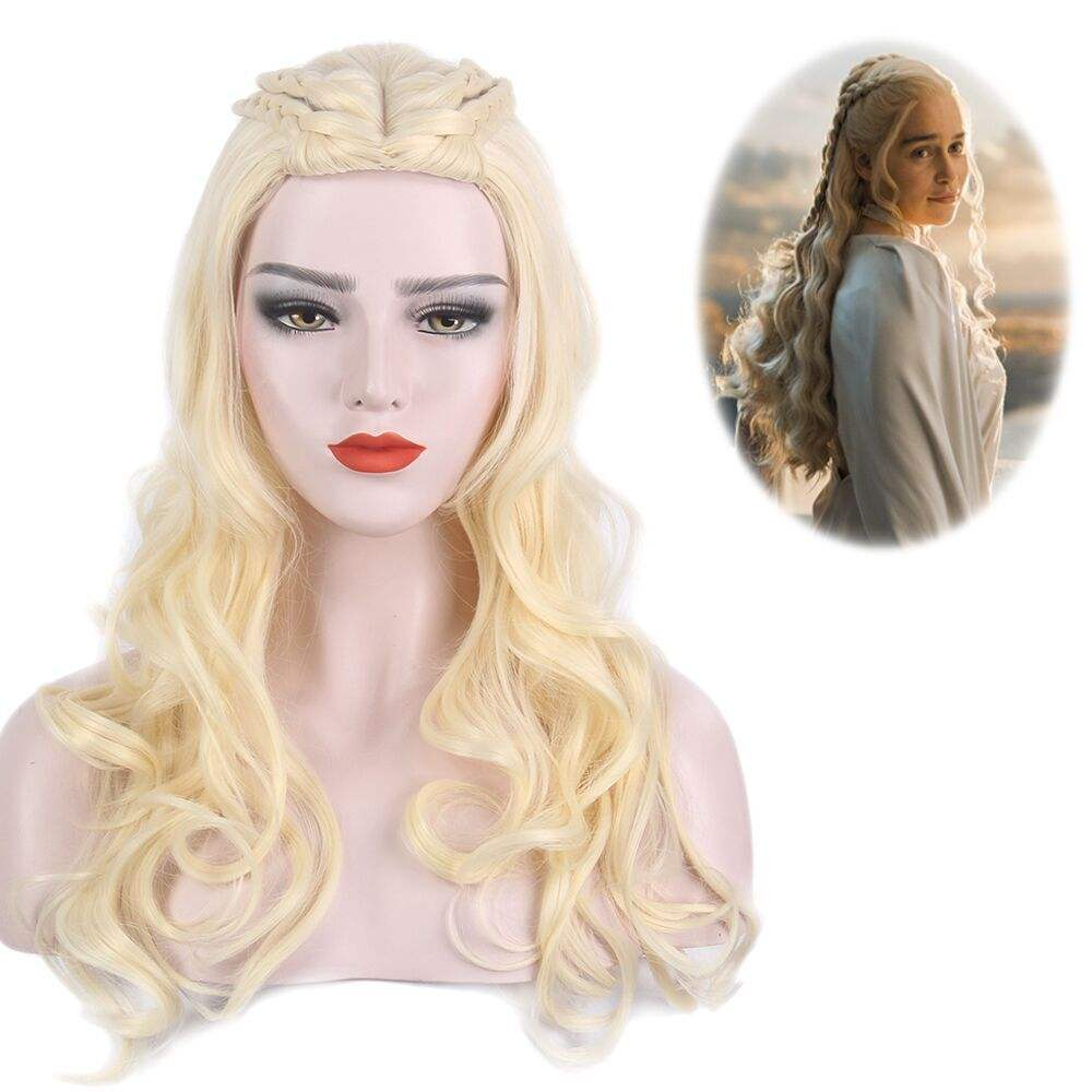 Game Of Thrones Cosplay Wig Dragon Mother Queen Long Curly Braid Wig For Halloween