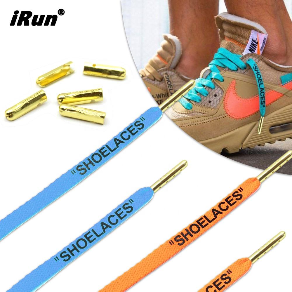 iRun Custom Show Laces with Company Name On The Flat Print Shoelaces with Engraved Logo Tips Shoelaces for Running Shoes