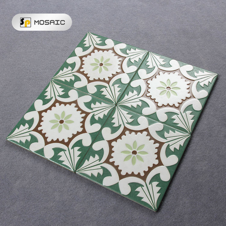 balcony 200x200mm green flower pattern floor decoration porcelain tiles floor tiles pattern ceramic tile