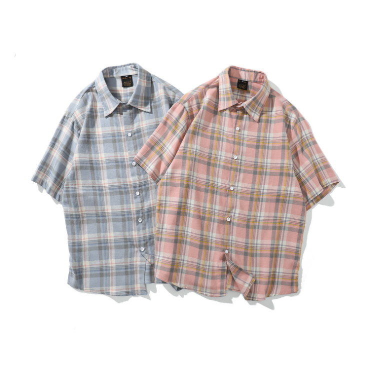 Fashion Summer Korean Street Check Five-point Sleeve Shirt Loose Plaid Casual Shirt Blouse