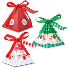 Christmas Candy Boxes Paper Favor Gift Treat Box with Ribbon and Tag for Xmas Christmas Party