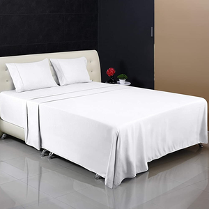 Wholesale 100% Egyptian cotton king size 250TC 5 star hotel white satin luxury bed sheet from china