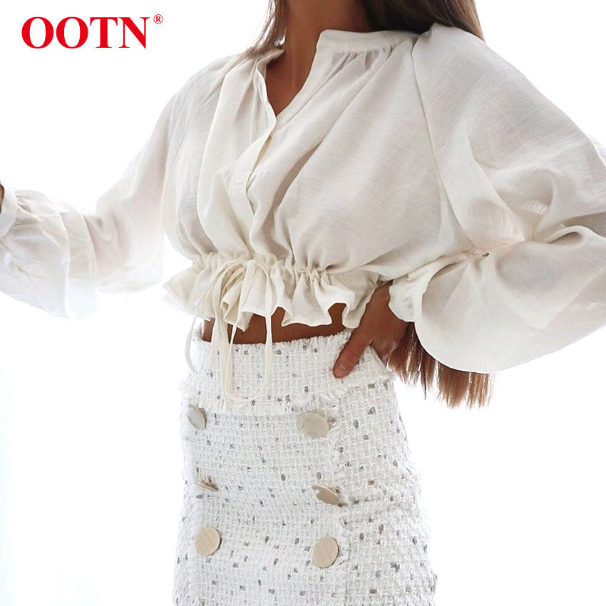 OOTN 2020 Casual Ruffle Chic Lantern Sleeves Women Blouse Lace Up Cotton Buttons Long Sleeve Crop Top White Office Short Blouse