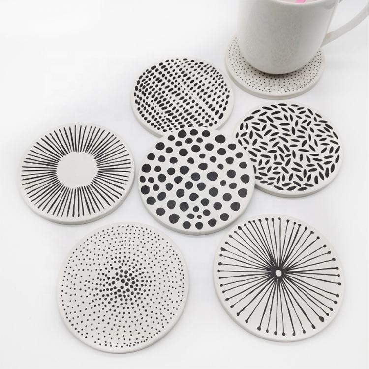 Nordic Style Cup Mat with Cork Backing Drink Coasters Absorbent Natural Ceramic Bar Coasters Set