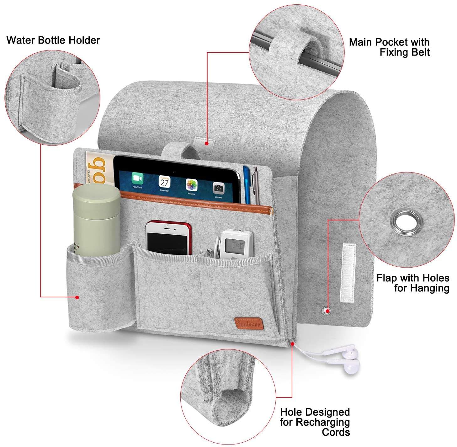 Sofa Armrest Organizer Couch Bedside Holder Caddy with 5 Pockets for Magazines, Books, TV Remote Control, Phone, iPad