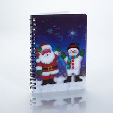 Pages Custom 3d Father Christmas design lenticular print plastic cover spiral notebook for kids