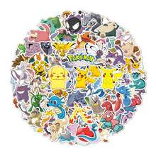 100pcs Colorful Eco Vinyl Die Cut Sticker Pokemon Stickers cute animals sticker For Laptop Guitar Skateboard Luggage Decal