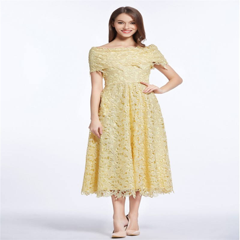 2019 latest formal gown party Madre de vestido de la novia yellow short lace mother of the bride evening dress