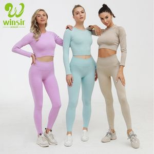 2020 Women Compression activewear suit Ribbed long sleeve crop top & Workout Gym Tights Sport Seamless yoga Leggings Pants sets