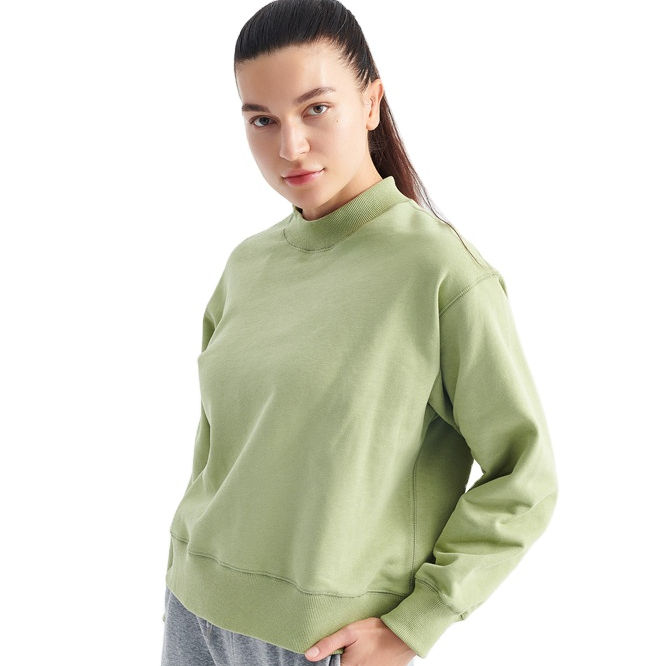 Soft Long Sleeve Blank Custom 100% Cotton Women Sweatshirts Pullover