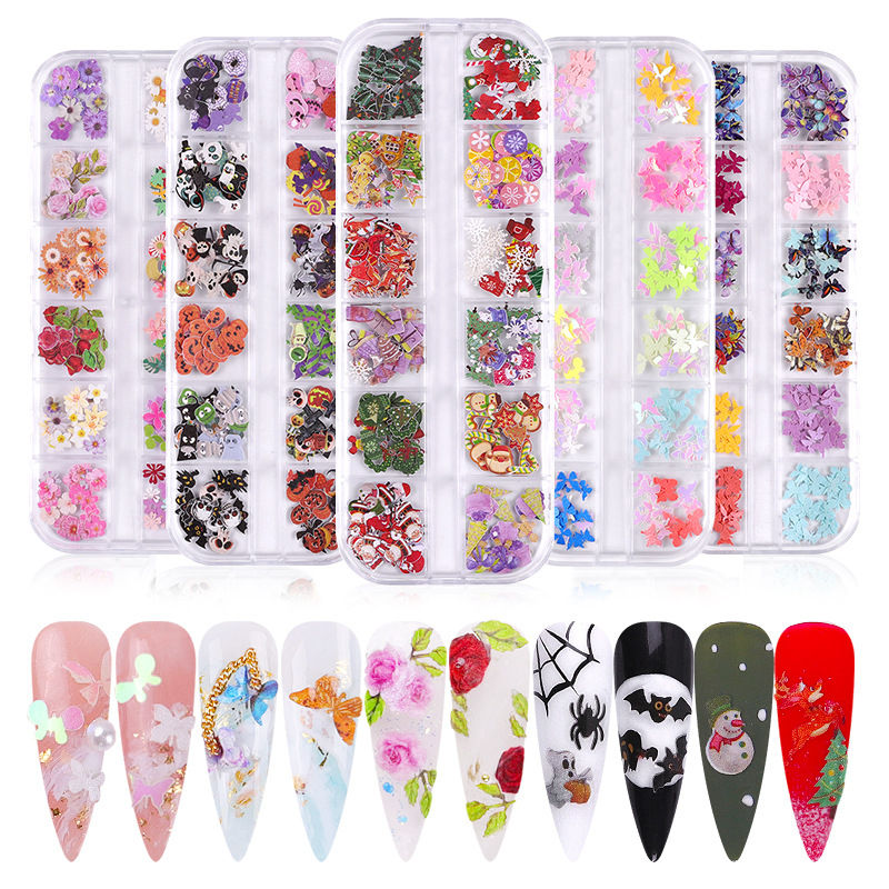 Hot Christmas Halloween Nail Art Stickers Professional Nail 3D Accessory Supplier