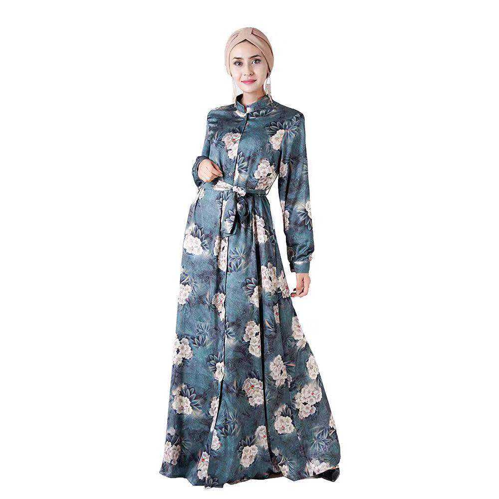 Islamic clothing high quality satin fabric belts floral three-dimensional digital floral muslim dress
