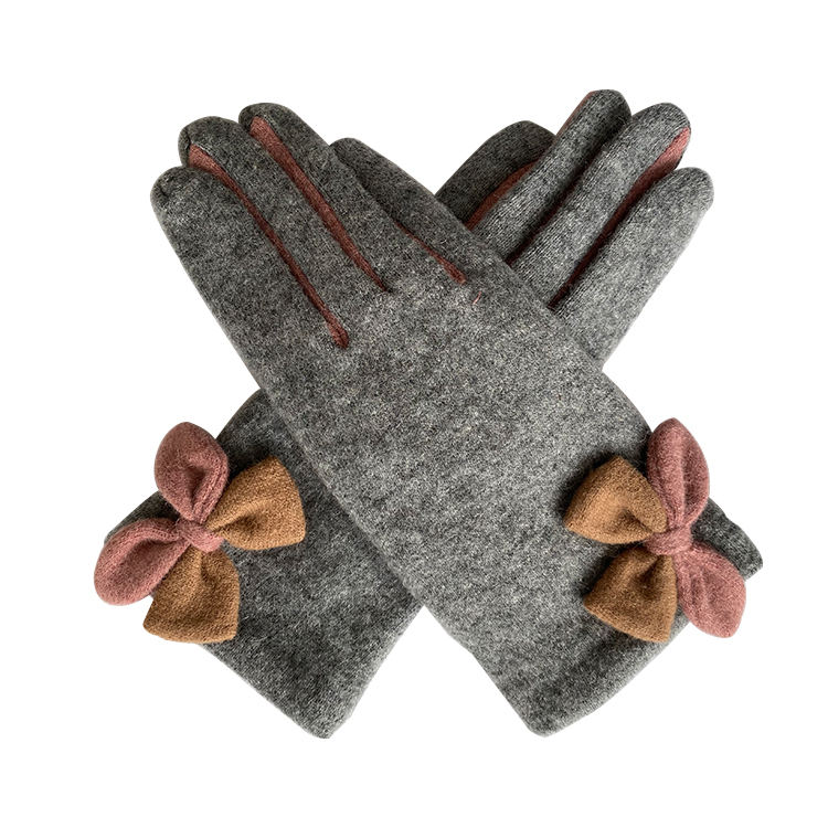 High quality grey women winter wool cotton gloves