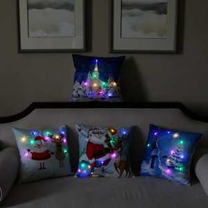 Bravo Sofa Couch Christmas Reindeer Led Throw Pillow Cushion Cover Decorative
