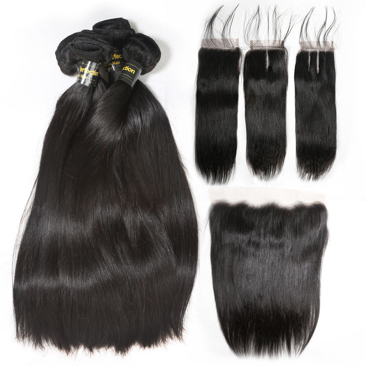 JP Free sample top quality brazilian virgin hair 3 bundles with closure, wholesale raw human hair 3 bundles with frontal