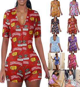Popular wholesale designer onsie onesie sleepwear women casual pajama adult jumpsuit custom print night onsie for woman
