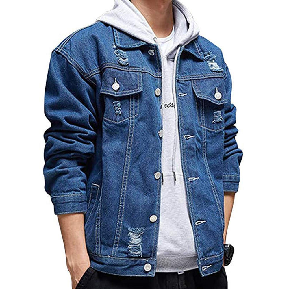 Ripped Denim Jacket Custom Denim Jacket Men Jeans Jacket For Men
