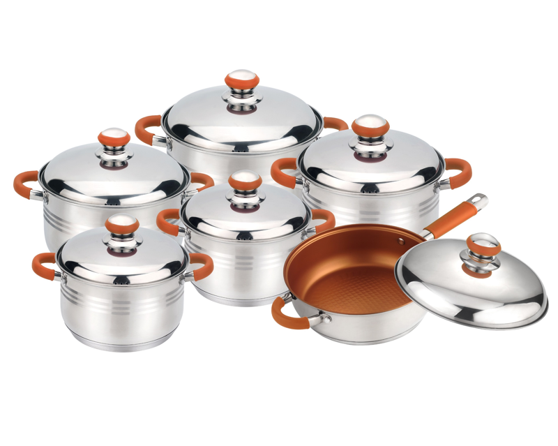 Top quality stainless steel pot 12 Piece Stainless Steel cookware in peru
