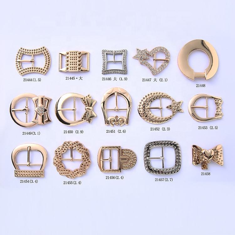brief style zinc alloy quality fancy shape shoe buckles and accessories with rhinestone and plating for girl shoes