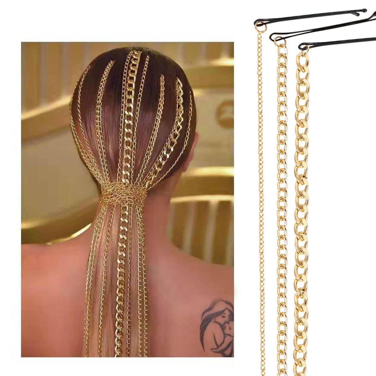 New Arrivals Hairpin Accessories Gold Plated Thick Link Hair Chain Wig Extension Long Tassel Hair Chain for Party