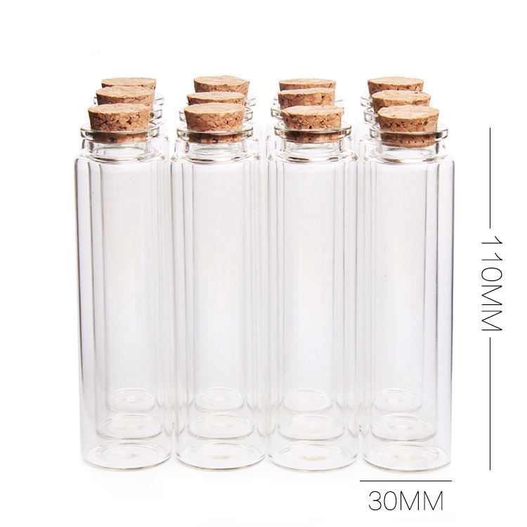 Whole sale 55ml long neck small glass bottle with cork round lid packing 55ml storage jar