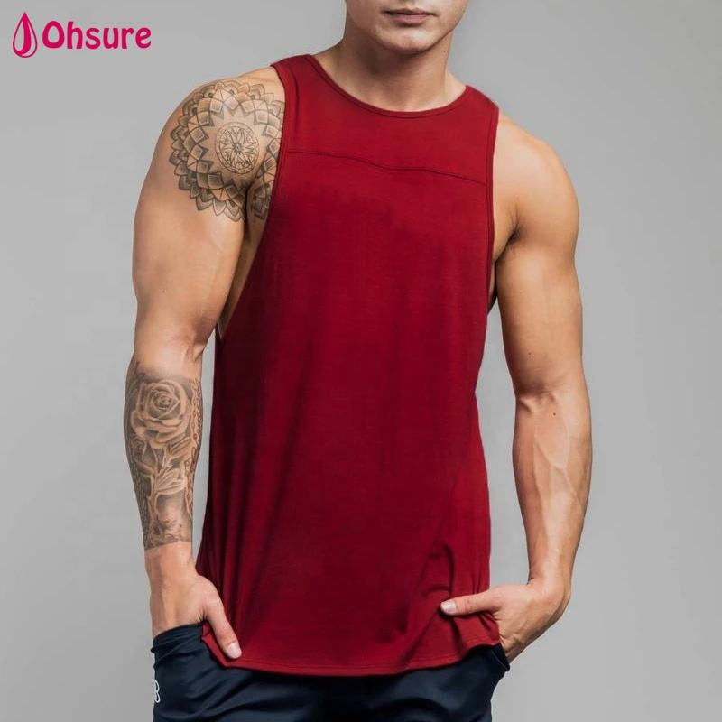 OEM Athletic Sleeveless T-shirts Fitted Muscle Sports Singlets Gym Vest mens tank top