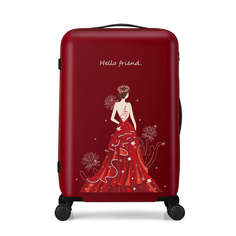 Wholesale trolley case universal wheel 20 24 inch boarding case red color suitcase trolley luggage case for women