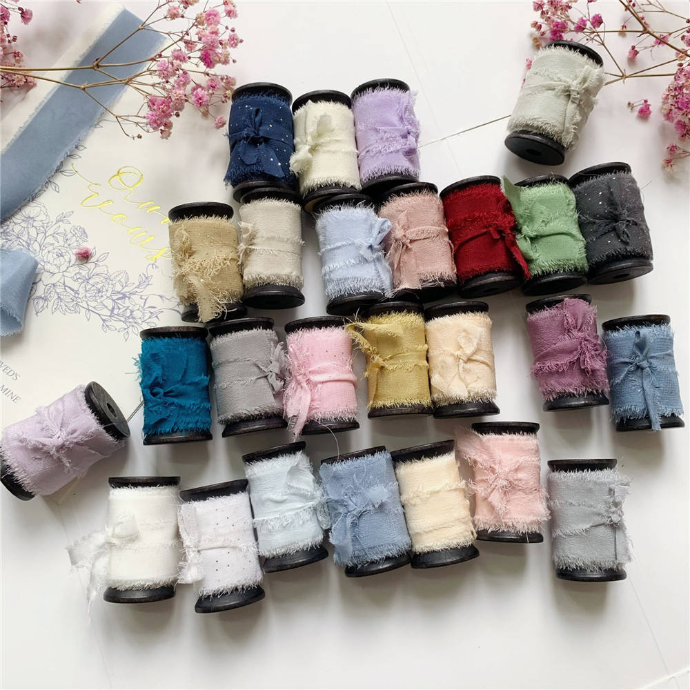 "1"" 1-1/2"" 3/2"" 25mm 32mm 38mm 50mm silk frayed edges ribbon ins style wedding silk ribbon on woodenspools"