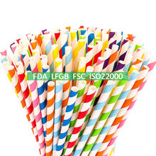 FDA LFGB Certified 100 200 300 Pack Decoration Durable Party Paper Straws