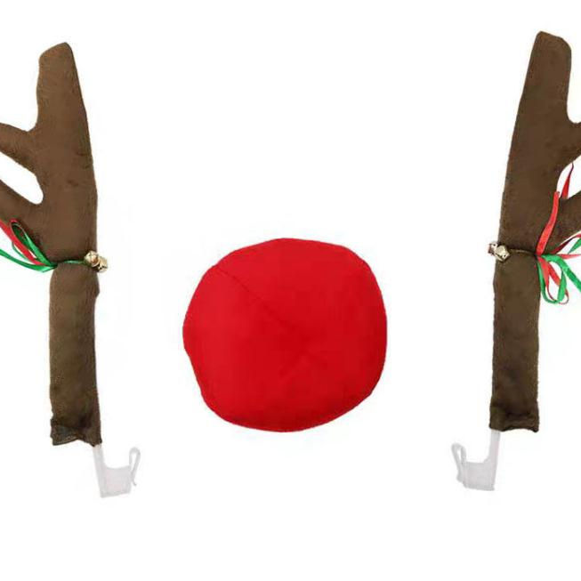 Window Top Rudolph Christmas reindeer red nose antlers for car decoration