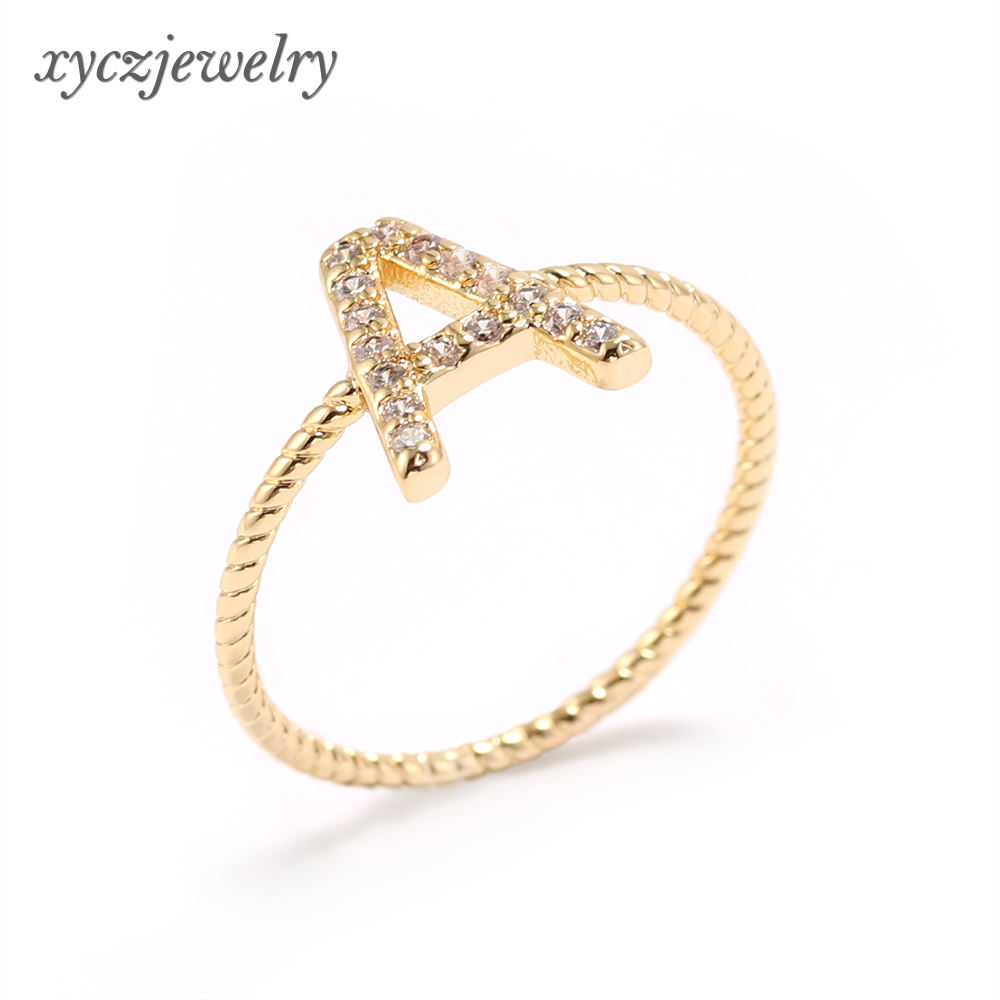 Wholesale 2019 hot fashion letter ring cubic zirconia jewelry 18k gold plated simple cz rings