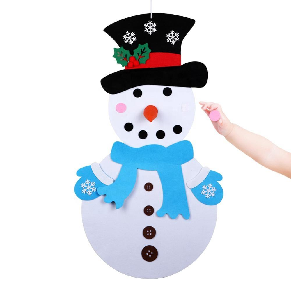 3D DIY Toddler Felt Christmas Tree with Snowman Santa Clause Ornaments Kids Gifts Toys New Year Xmas Party Decoration