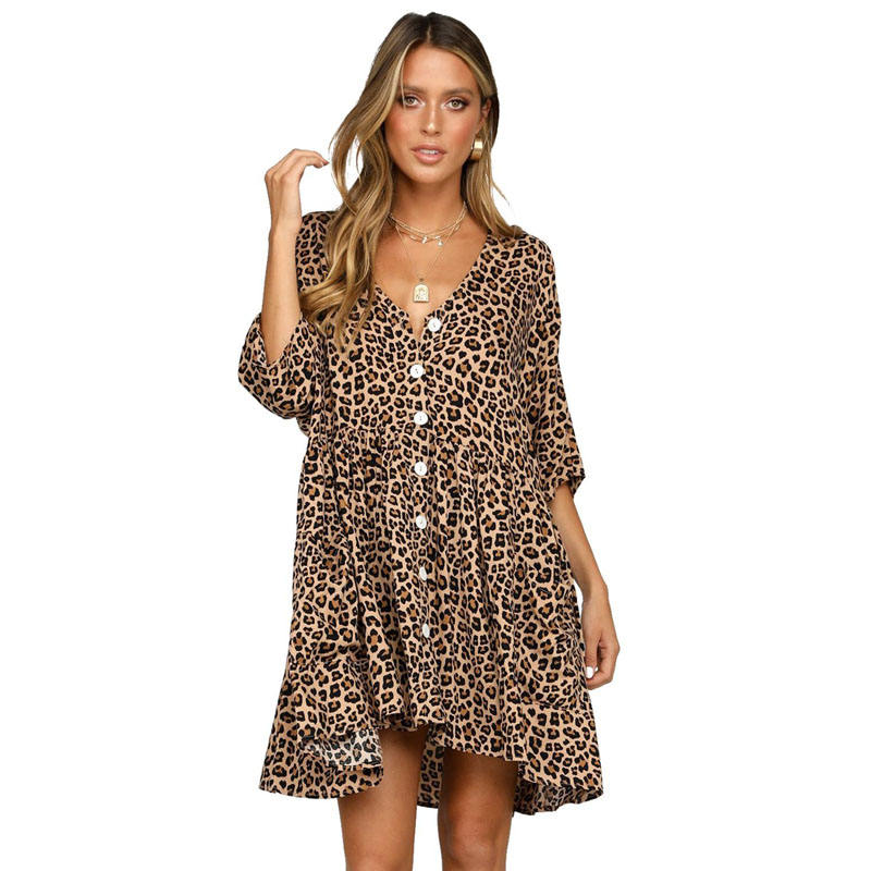 New Arrivals Leopard Print Women Dress V Neck Button Half Sleeves Swing Casual Dresses