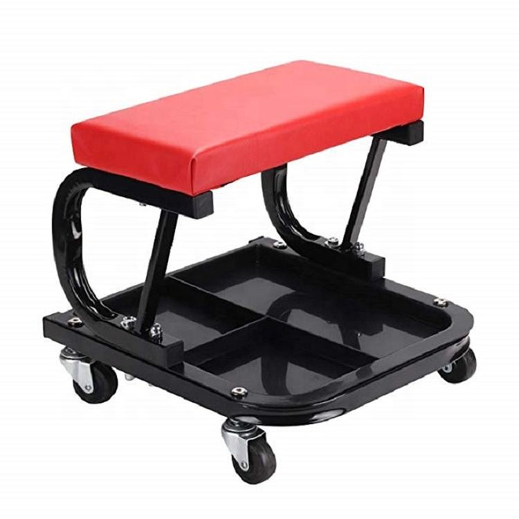 Padded Garage Work Seat With Storage Tray / Mechanics Roller workshop Stool / Utility Mechanic rolling Creeper Trolley Chair