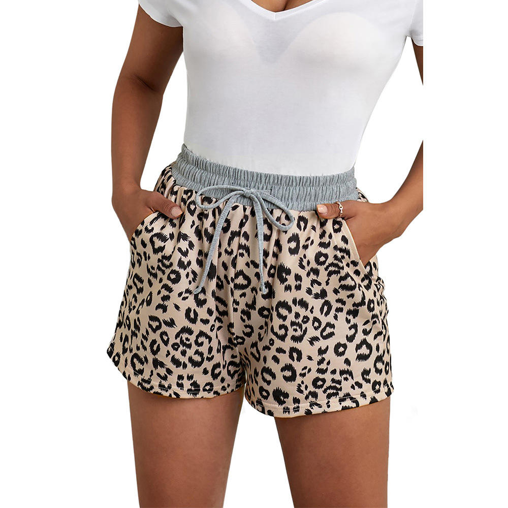 wholesale Summer leopard shorts Women with elastic-belted summer baggy shorts girls summer shorts