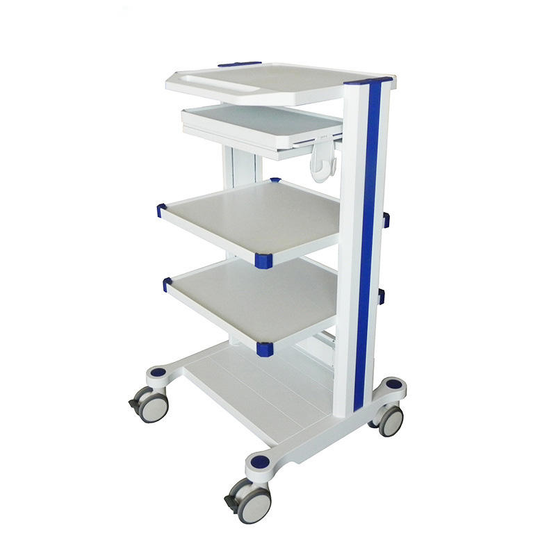 Mobile Medical Equipment Cart with Casters Endoscopy Trolley For Hospital