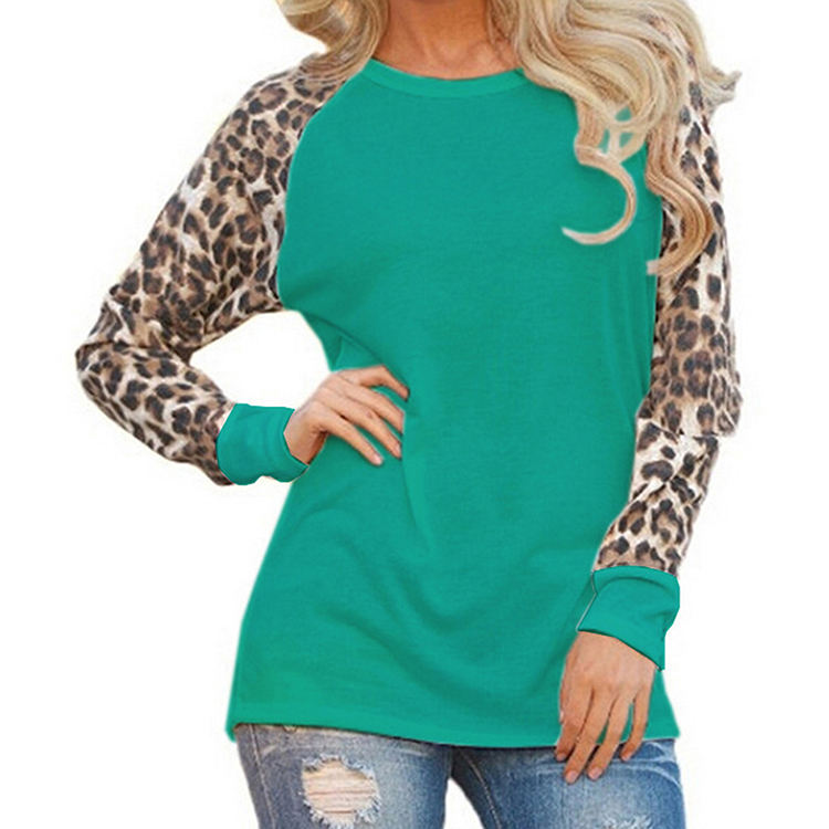 Large Size Women'S Loose Stitching Leopard Casual T-Shirt Round Neck Casual Fashion Long Sleeves T Shirt Women
