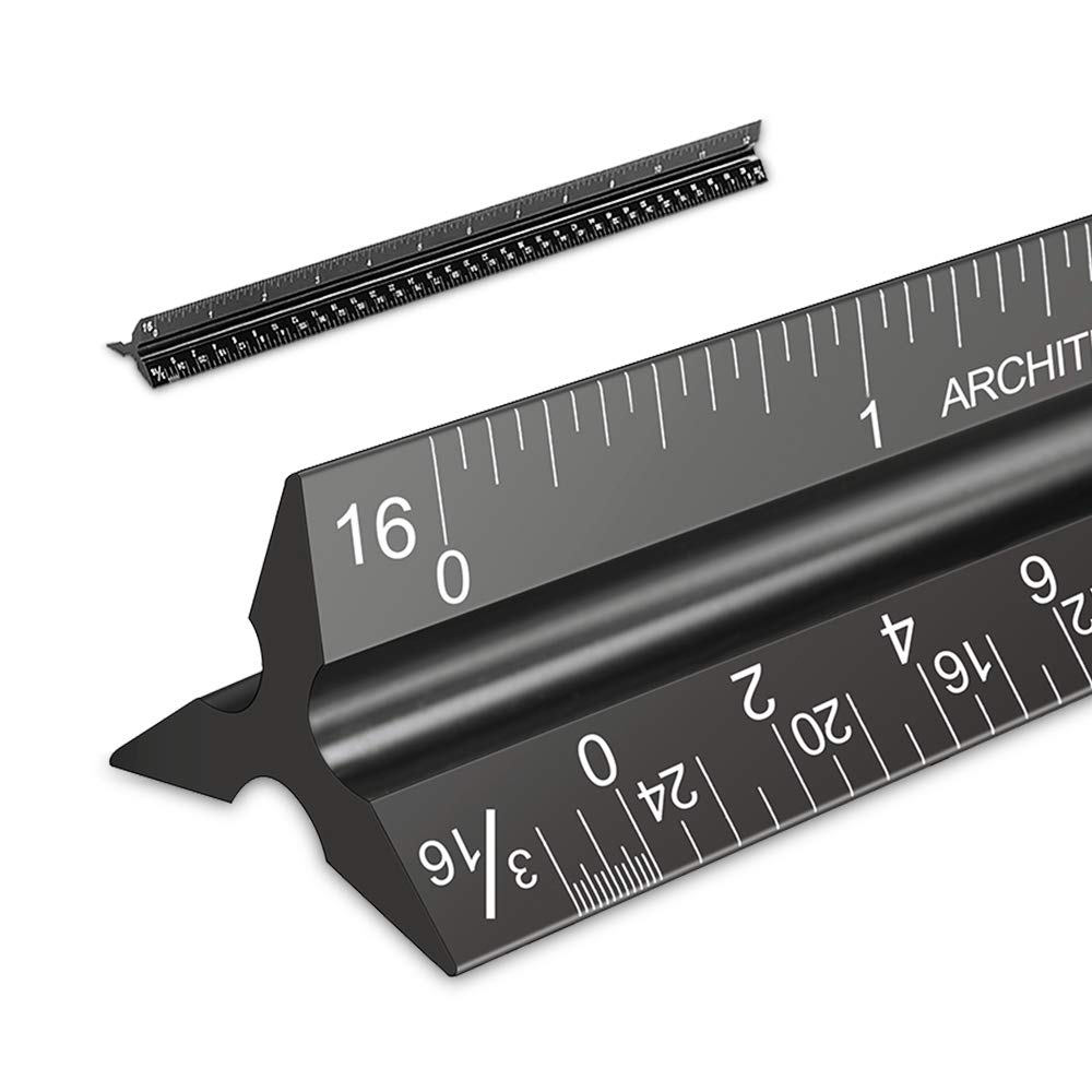 Metal 12 Inch Aluminum Triangular Architect Scale Ruler With Laser Numbers Steel Ruler
