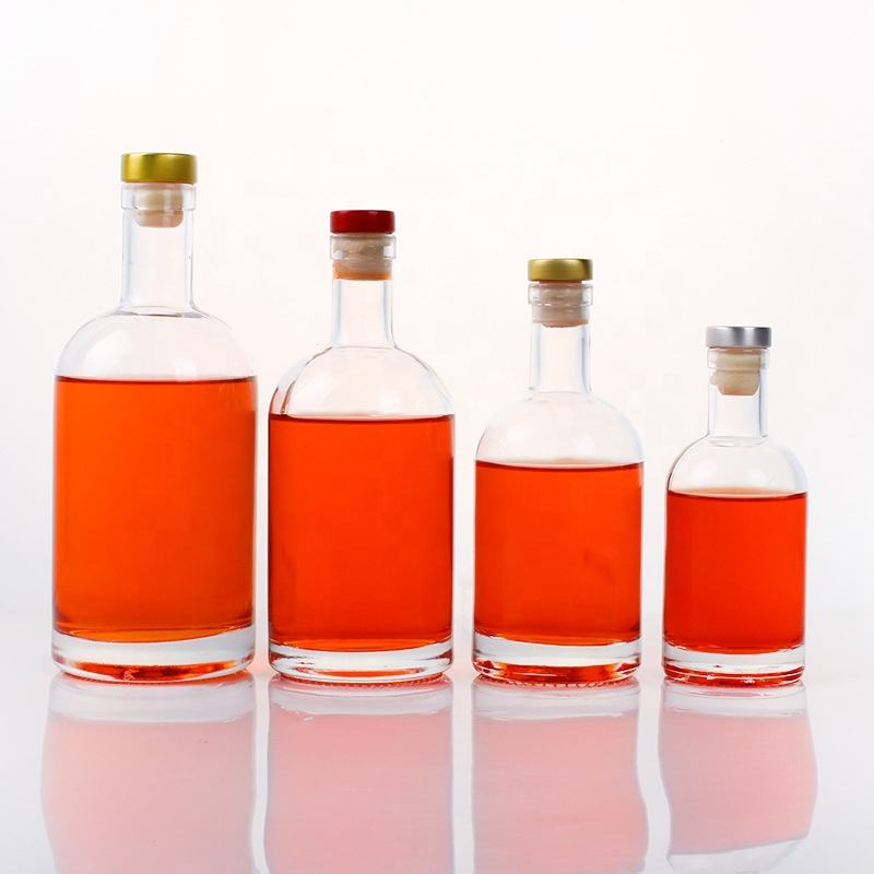 Wholesale 1000ml 750ml 500ml 375ml 200ml 100ml Vodka Spirit Glass Bottle for Liquor with Cork