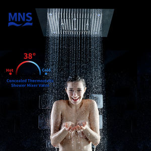 Multi-functional Shower Set Bathroom Thermostatic Led Waterfall Shower Head Concealed Square Bath Shower Mixer