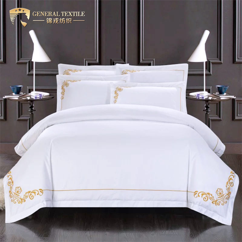 Premium Egyptian Cotton Home Bedding Sheets Set Luxury Embroidery Bed Linen