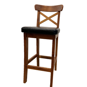 FLSM Home Furniture Modern PU Barstool Wooden Chairs High Bar Stool with Foot Rest